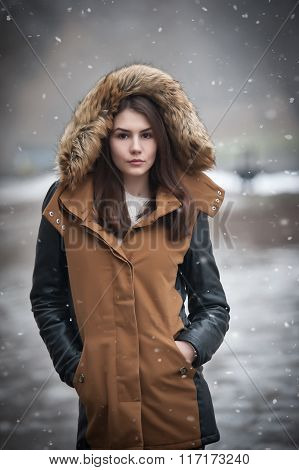 Beautiful young girl with brown coat trimmed with gray fur enjoying the winter scenery in park