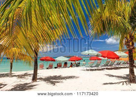 Beautiful tropical beach. Caribbean sea coast