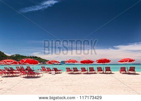 Beautiful tropical beach. Caribbean sea coas