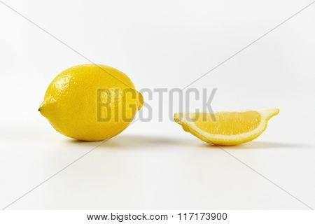 fresh juicy lemon on white background