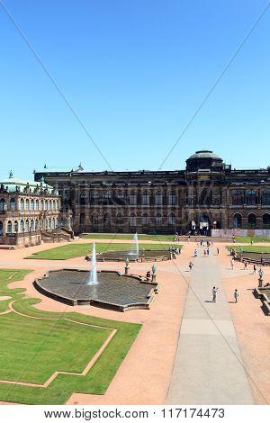 Park Zwingergarten With Semper Gallery Inside The Palace Zwinger, Dresden