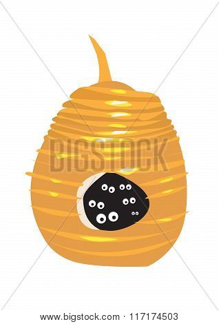Natural Beehive or Wasp Nest with eyes inside looking out. Editable Clip Art.