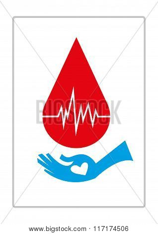 Blood Droplet with Life Monitor and a hand of recipient with a heart asking for donor blood. Editabl