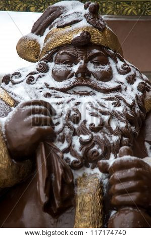 Santa Claus Monument In Snow