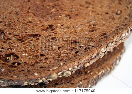 Slices of nutritious dark Rye bread with whole grains