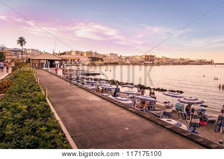 Sunset On The Seafront At Otranto In Southern Italy.