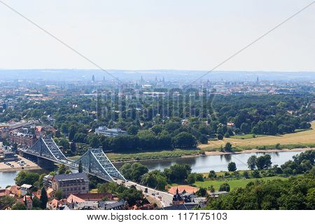 View Of Dresden Cityscape With Bridge, River Elbe And Church Frauenkirche