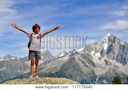 Little boy In Mountains