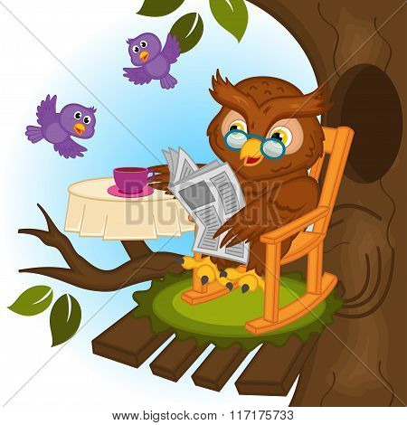 owl drinking tea and reading a newspaper