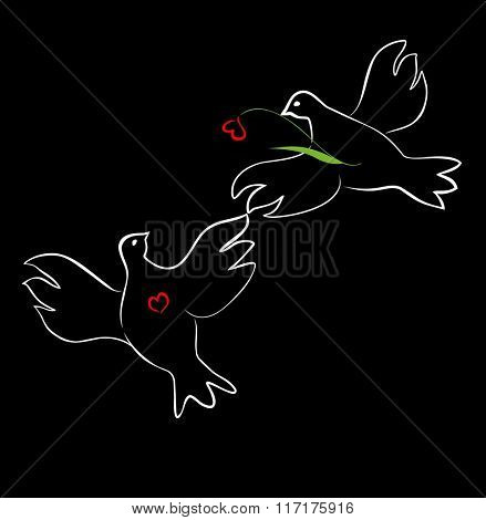 Greeting card with loving doves