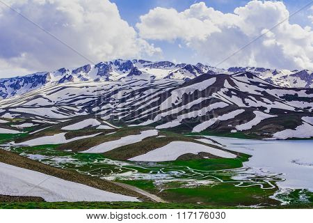 snowy mountains and meanders