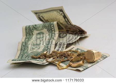 Gold Ornaments And Dollars
