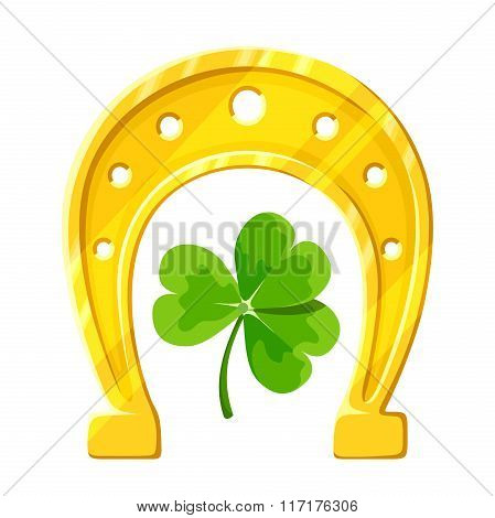Gold horseshoe and green clover. Vector illustration.