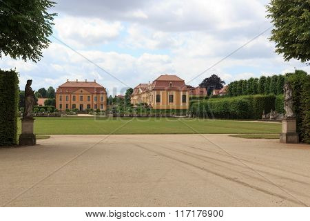 Friedrich Palace, Orangery And Statues At Baroque Garden Grosssedlitz In Heidenau, Saxony