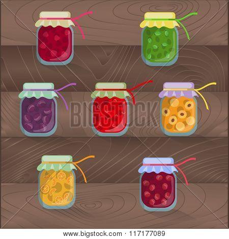 Vector isolated set of jam jar with cherries raspberries gooseberries plums strawberries apricots or