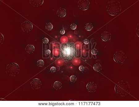 Abstract Fractal Background With Planets