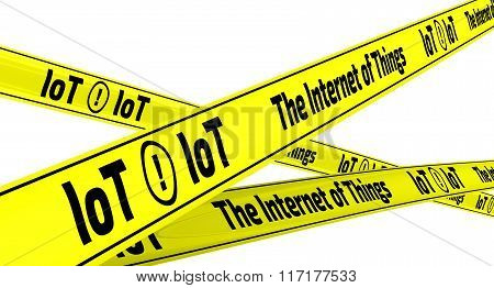 The Internet of Things. Yellow warning tapes