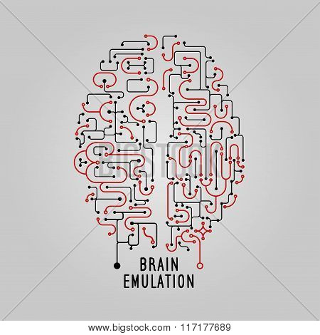 Vector Illustration brain concept in line style, for technolog, creative design. Stylized brain.