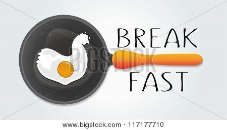 Chicken concept illustration in flat style. Vector egg omelette. Egg logo icon in modern design for