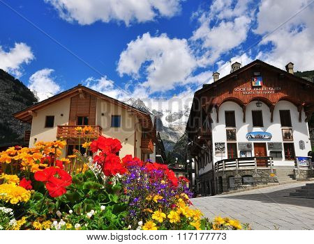 Town Square Of Courmayeur, Italy