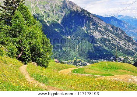 Winding Path In Italian Alps