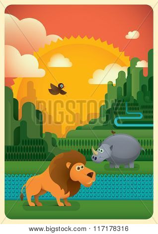Animals in the wild. Vector illustration.