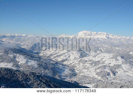 Wagrain City In Valley In Alps In Winter.