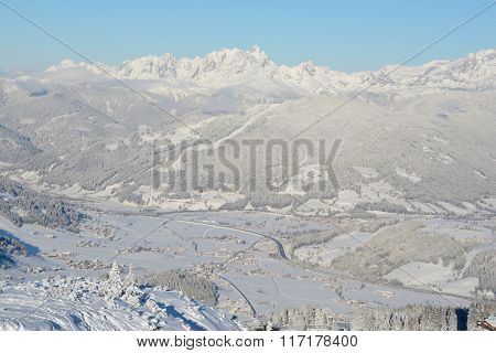 Peaks And Valley In Alps In Winter.