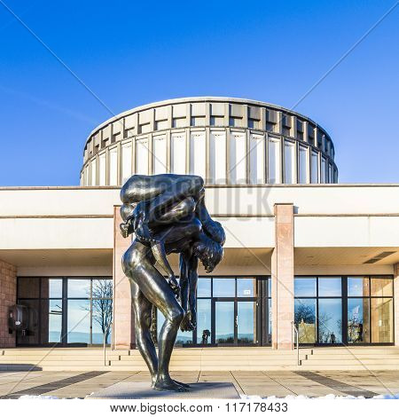Sculpture In Front Of Panorama Museum In Bad Frankenhausen, Germany