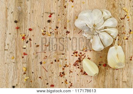Head Of Garlic With Two Cloves