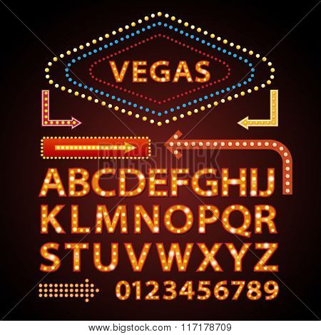 Vector orange neon lamp letters font show cinema and theater