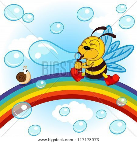 Bee on rainbow inflated bubbles