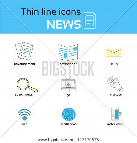 News Thin Line Icons Set Collection