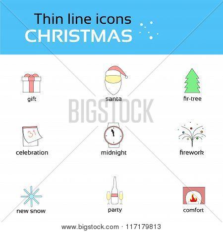Christmas Icons Thin Line Set Collection