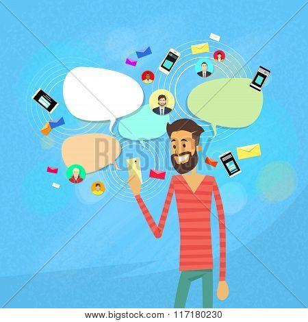 Man Chatting Texting, Social Network Communication
