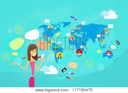 Girl Chatting Texting, Social Network Communication Concept World Map