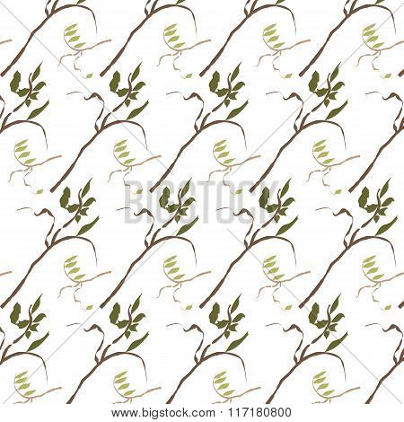 Green seamless texture with green leaves.