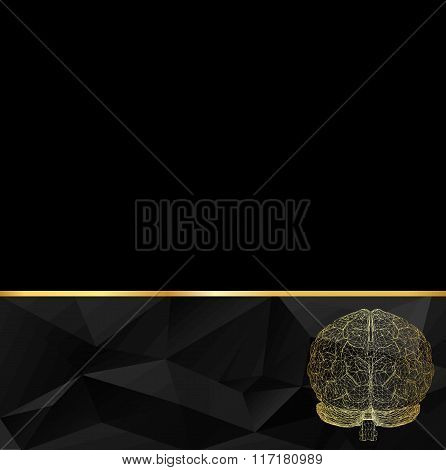 Abstract Creative concept vector background of the human brain. Polygonal design style letterhead an
