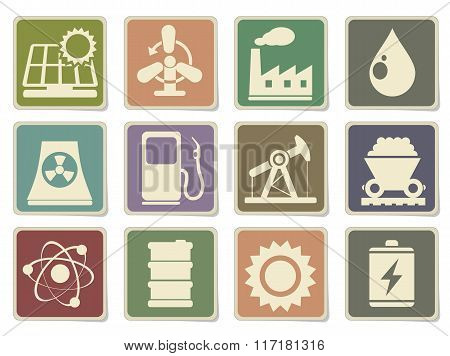 Energy and Industry icons set