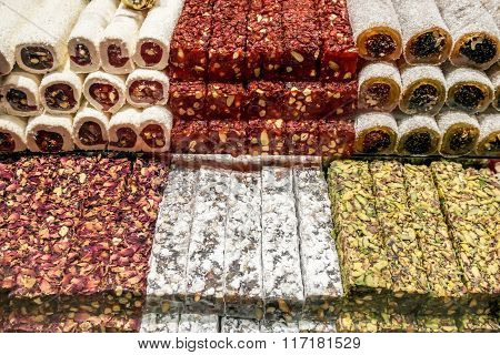 Turkish delight or lokum  on Grand bazaar in Istanbul.