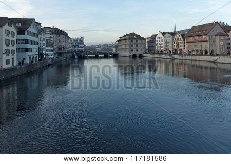 Panoramic view of city of Zurich and Limmat River, Switzerland