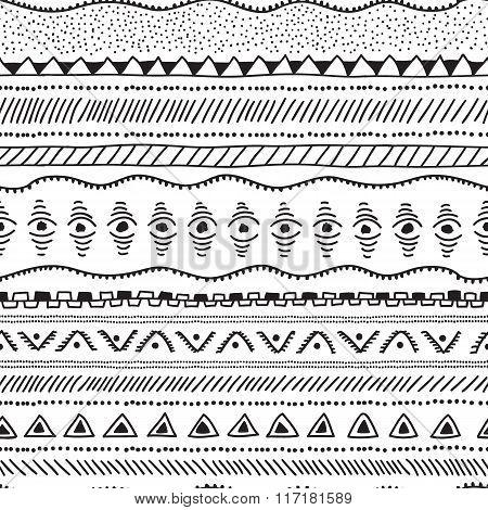 Seamless Geometric Ethnic Pattern. Black And White Illustration.