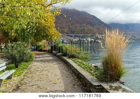 embankment of  Montreux and Alps, Switzerland