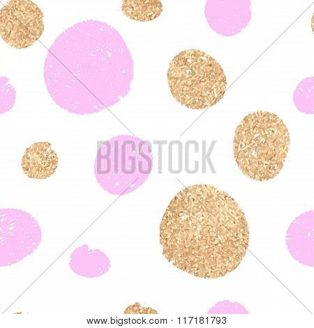 Seamless - Oval Gold And Pink Hand-drawn. White Background.