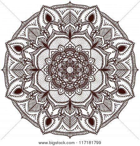 Mandala. The Circular Pattern Of The Hand. Handmade.