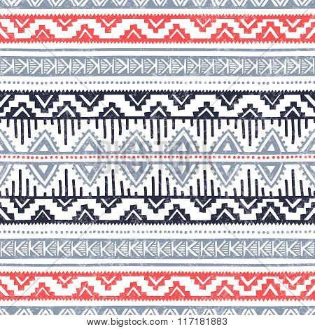 Seamless Ethnic Background. Geometric Lines On A White Background.
