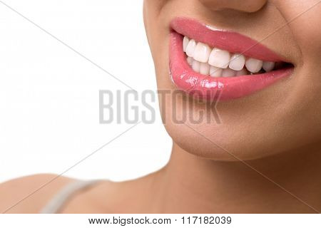 Woman smile, teeth whitening, dental care