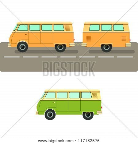 Vector Illustration Retro Camper Van.the Journey By Car. Small Car With A Trailer To Travel. Retro C