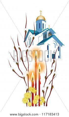 Easter Illustration With Branches Of Willow And Orthodox Church