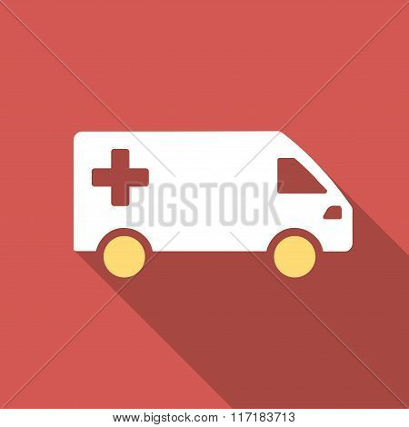 Emergency Van Flat Square Icon with Long Shadow